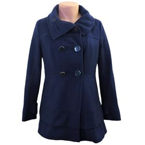 Kenneth cole wool long navy pea coat size 12 large